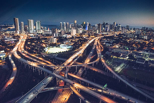 miami downtown aerial view in the night - highway stock photos and pictures