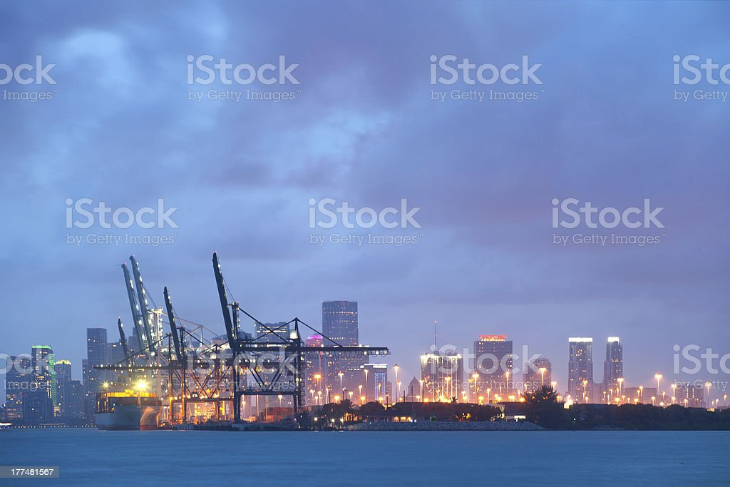Miami downtown and port at night stock photo