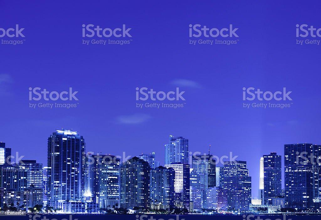 Miami downtown at night royalty-free stock photo