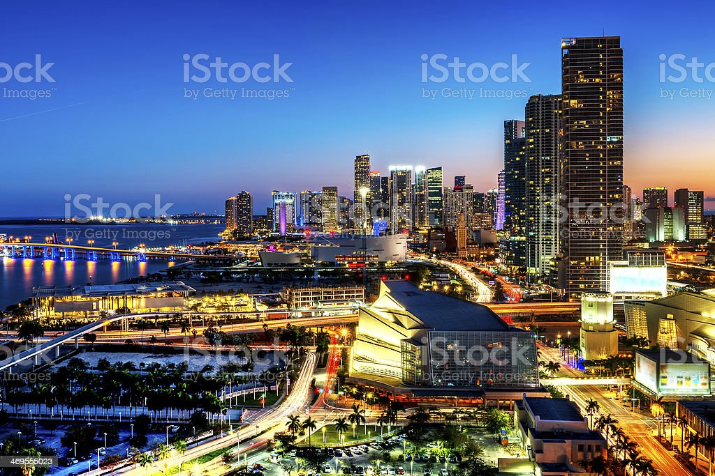 Miami downtown at night stock photo