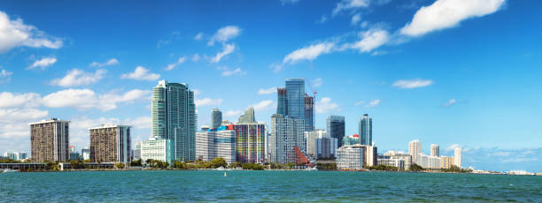 Miami downtown Brickell skyline sunny day extended panorama stock photo