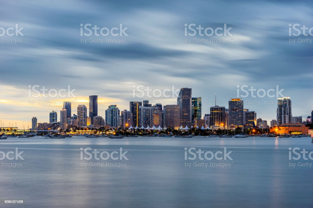 Miami Downtown skyline at sunset stock photo