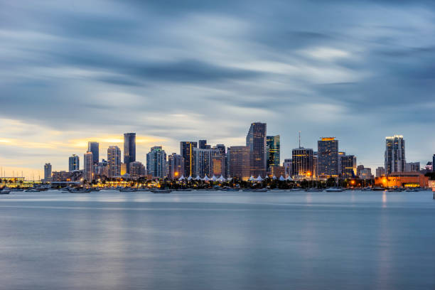 miami downtown skyline at sunset - miami stock photos and pictures
