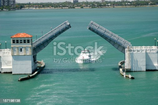 an opening drawbridge on Venetian Causeway in Miami, FL