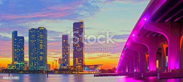 istock Miami Florida at sunset, colorful skyline 499424580