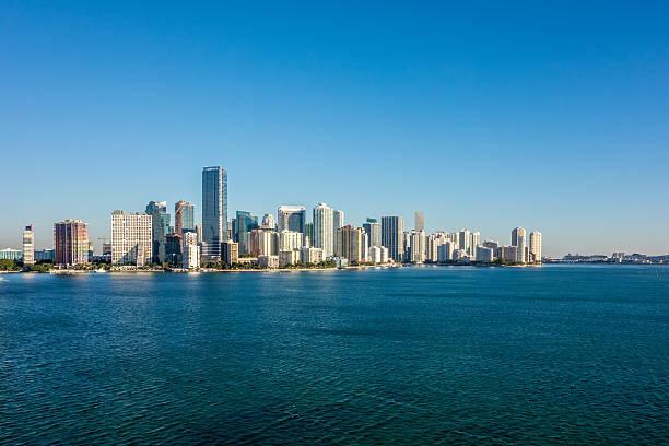 Miami Florida city skyline morning with blue sky stock photo