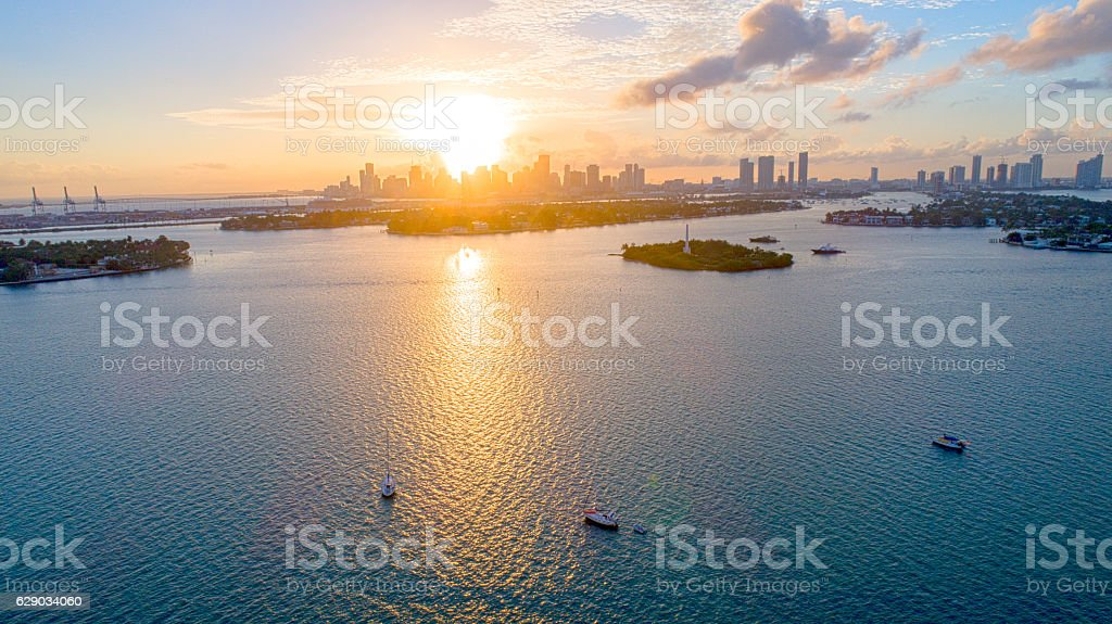 Miami, Florida Downtown Aerial Sunset View stock photo