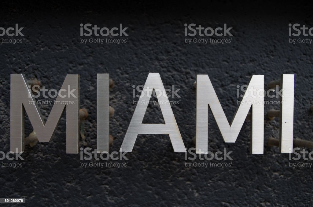 Miami Florida sign in silver letters royalty-free stock photo