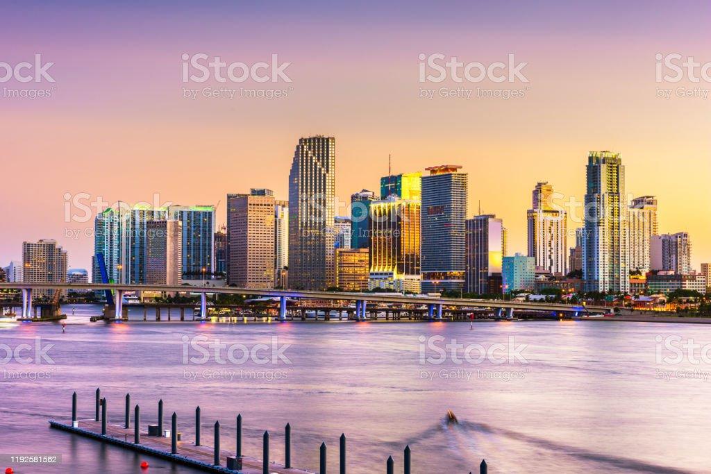 Miami, Florida, USA skyline on Bisayne Bay Miami, Florida, USA skyline on Bisayne Bay at dusk. American Culture Stock Photo