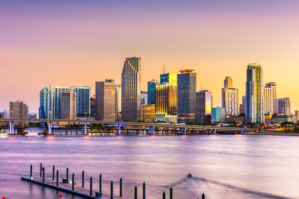 Miami, Florida, USA skyline on Bisayne Bay stock photo