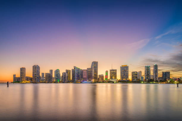miami, florida, usa skyline on bisayne bay - south stock photos and pictures