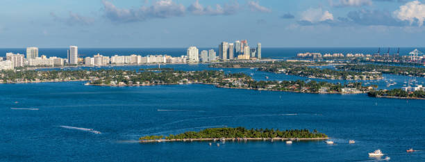 Miami Intracoastal Panorama East View stock photo