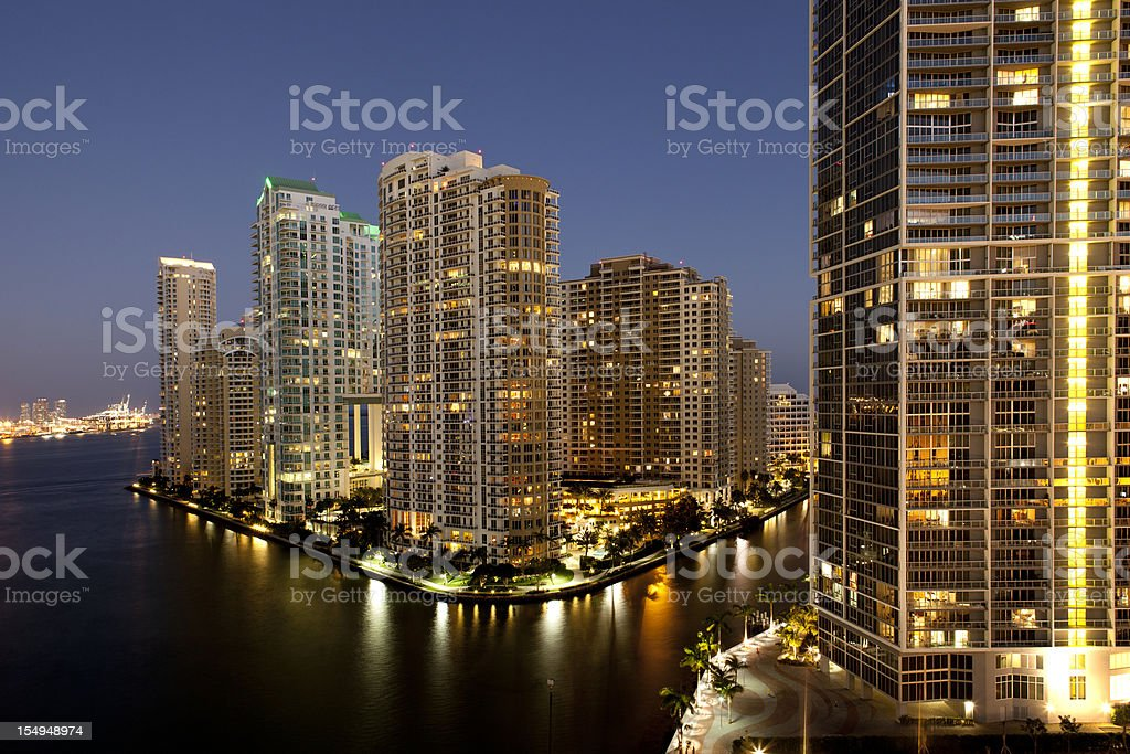Miami lights of the city on river royalty-free stock photo