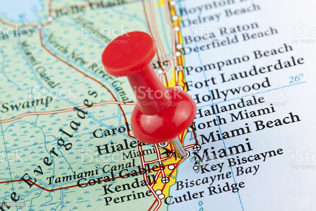 Map Of Florida Usa.Miami Map Florida Usa Stock Photo More Pictures Of Aspirations