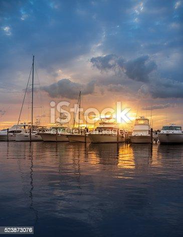 Miami marina at sunset