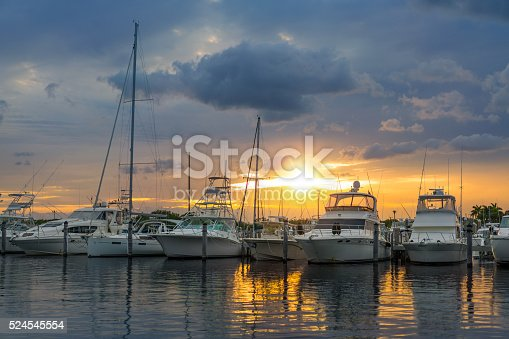 Miami marina at sunset