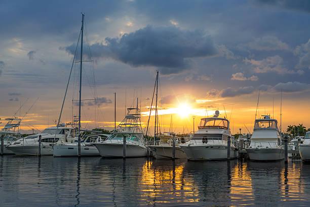 miami marina - aangemeerd stockfoto's en -beelden