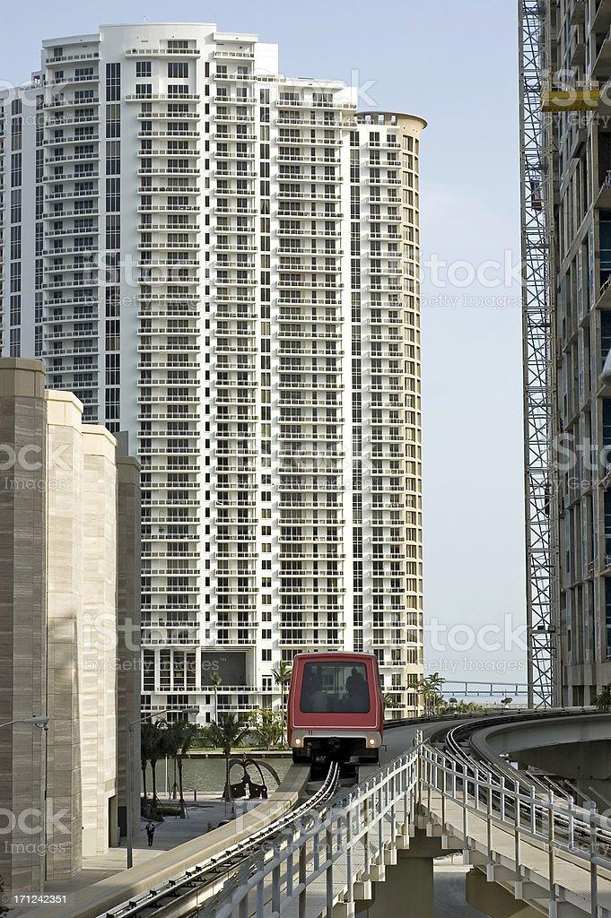 miami metromover arriving stock photo