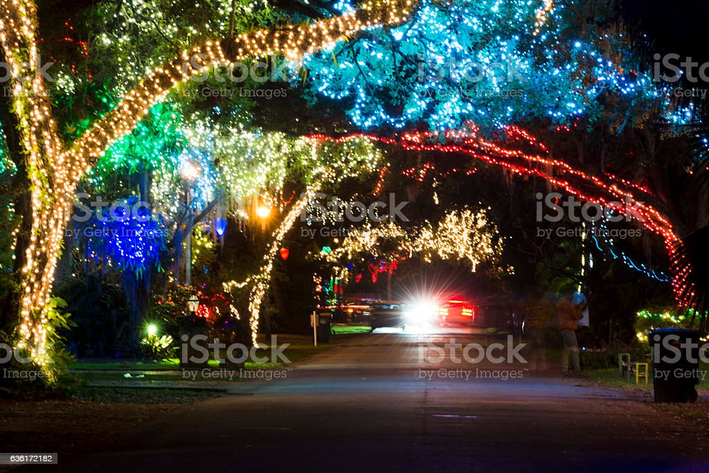 miami neighborhood illuminated with christmas lights during winter holiday season royalty free stock photo