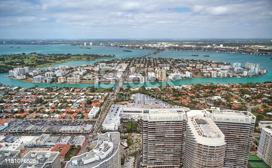Miami North Beach and city skyline as seen from aircraft, Florida.