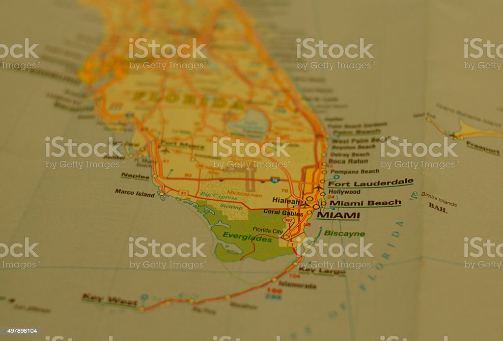Map Of Florida Gulf Coast.Miami On A Map Stock Photo More Pictures Of 2015 Istock