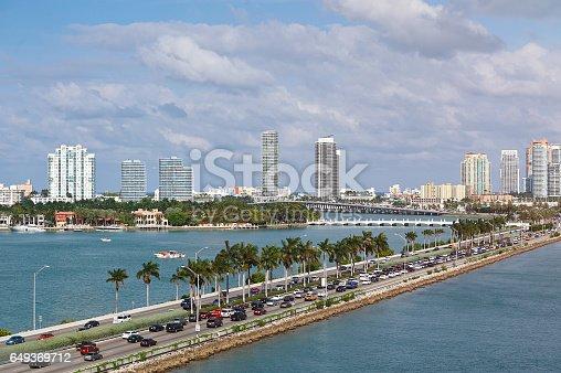 istock Miami panorama with car traffic 649369712