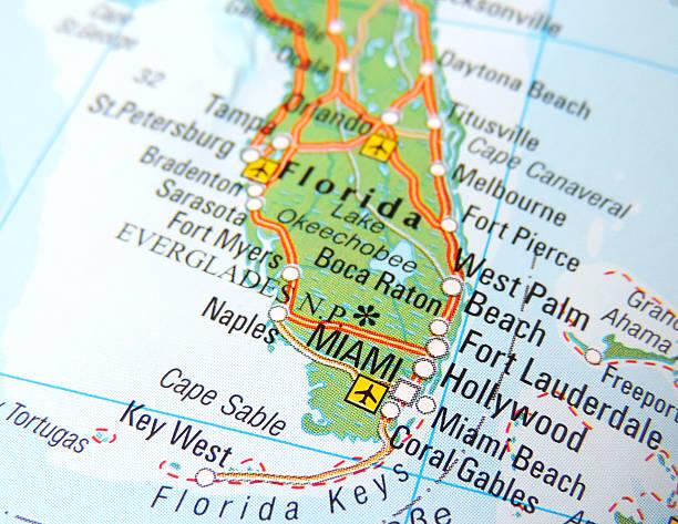 Miami Mapa Estados Unidos.De Miami Florida Mapa De Estados Unidos Banco De Fotos E