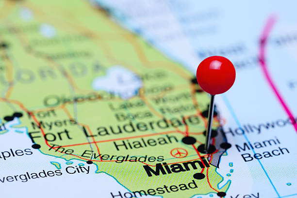 Miami Pinned On A Map Of Usa Stock Photo More Pictures Of 2015