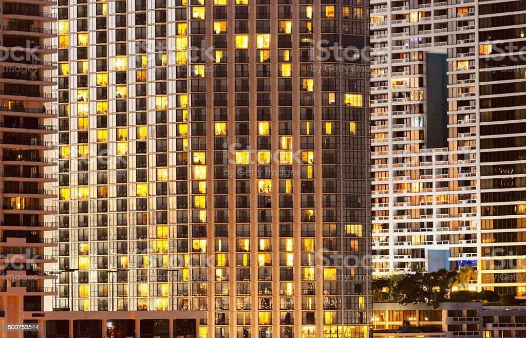 Miami Real Estate Urban Density Building Exterior Downtown at Night stock photo