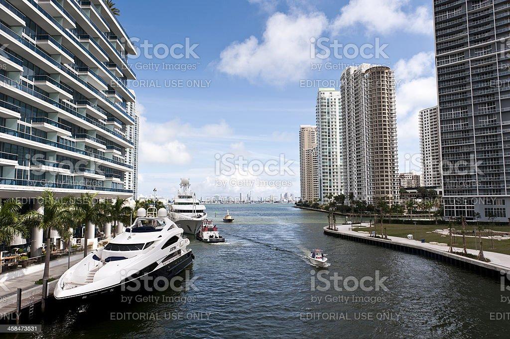 Miami River at Brickell District stock photo