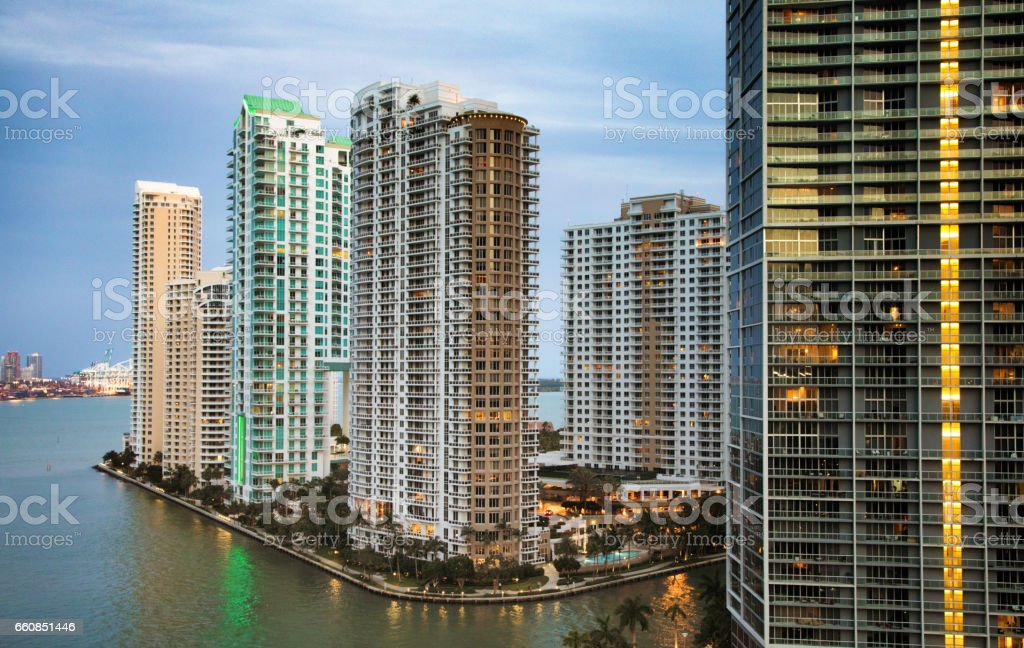 Miami river Brickell point tall apartment buildings stock photo