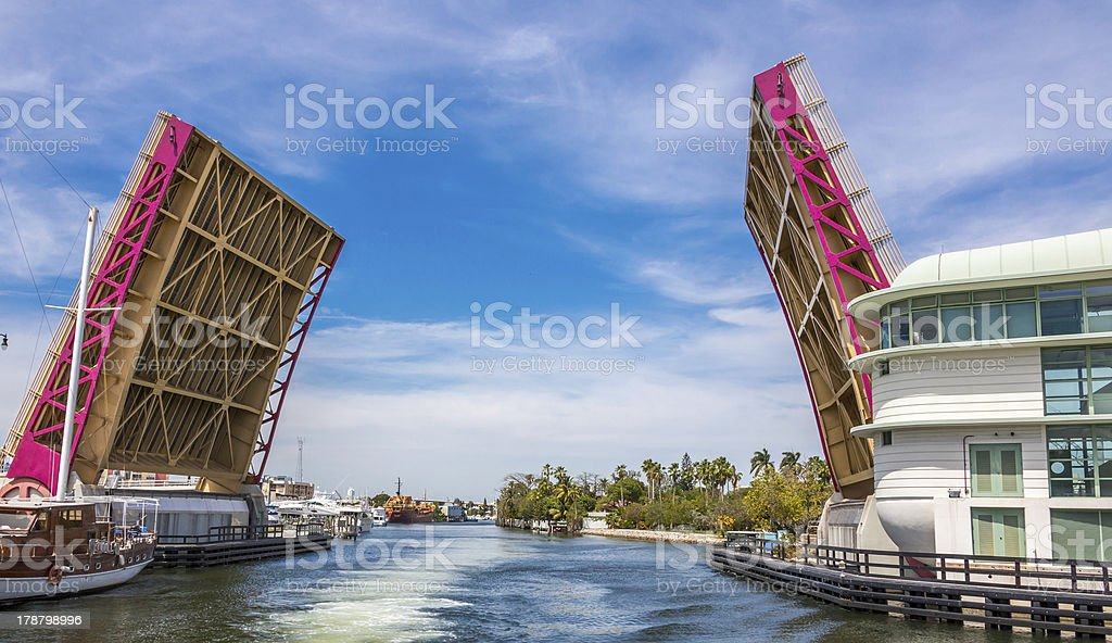 Miami River Drawbridge at North West 7 Avenue stock photo