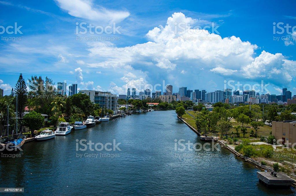 Miami River & Skyline stock photo