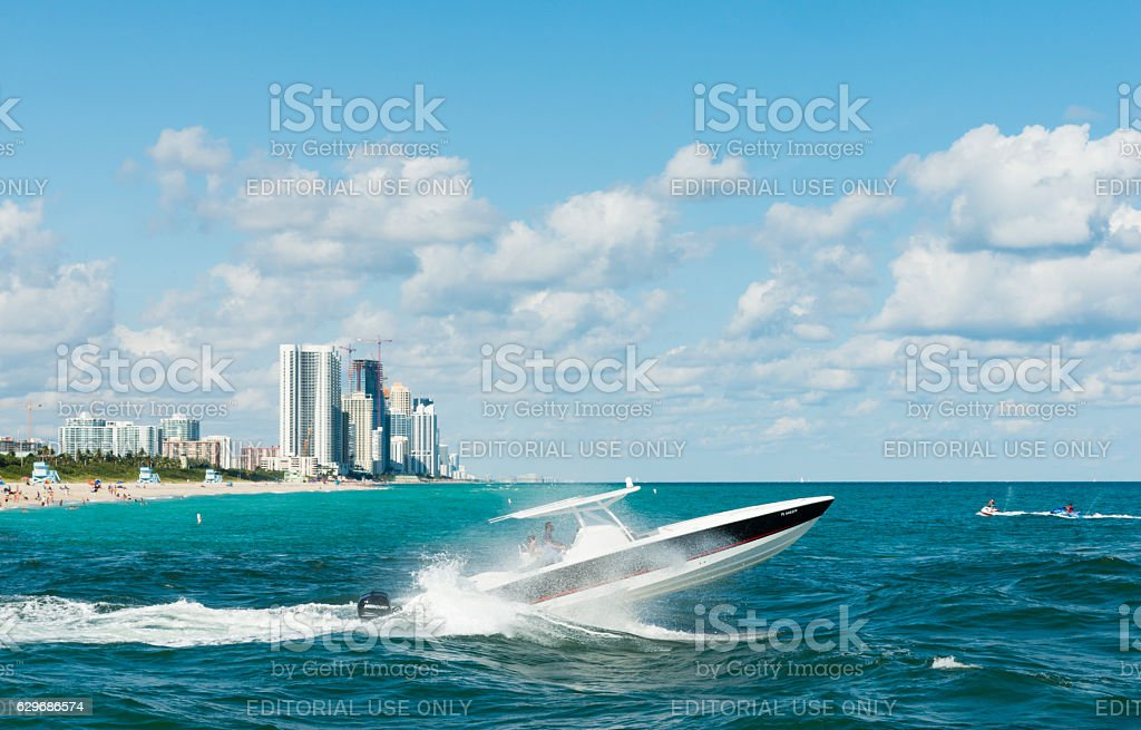 Miami Scene Moat Boating in Ocean Bal Harbour Haulover Beach stock photo