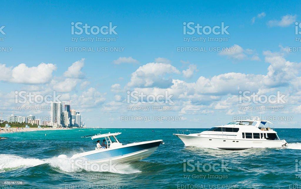 Miami Scene Motor Boating in Ocean Bal Harbour Haulover Beach stock photo