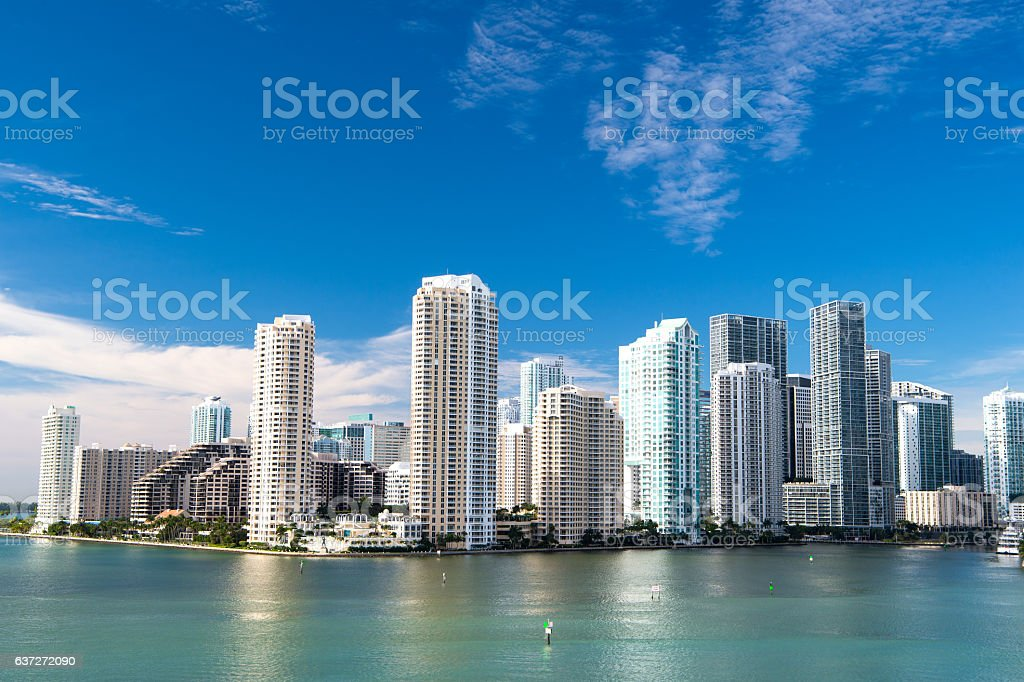 Miami, Seascape with skyscrapers in Bayside stock photo