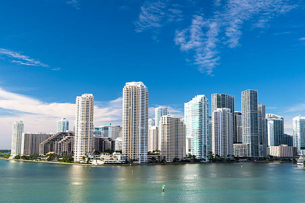 miami, seascape with skyscrapers in bayside - miami stock photos and pictures