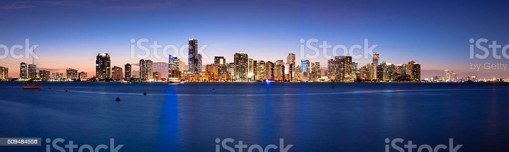 Miami Skyline at Night stock photo