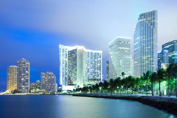 miami skyline at night - miami stock photos and pictures