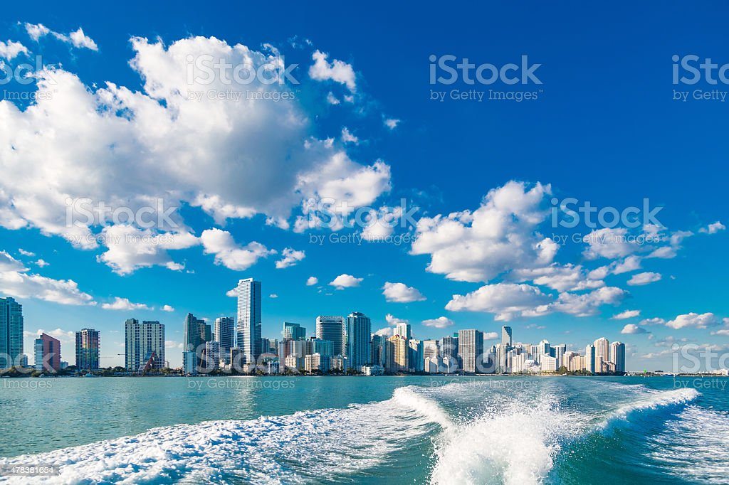 Miami skyline from a speed boat stock photo