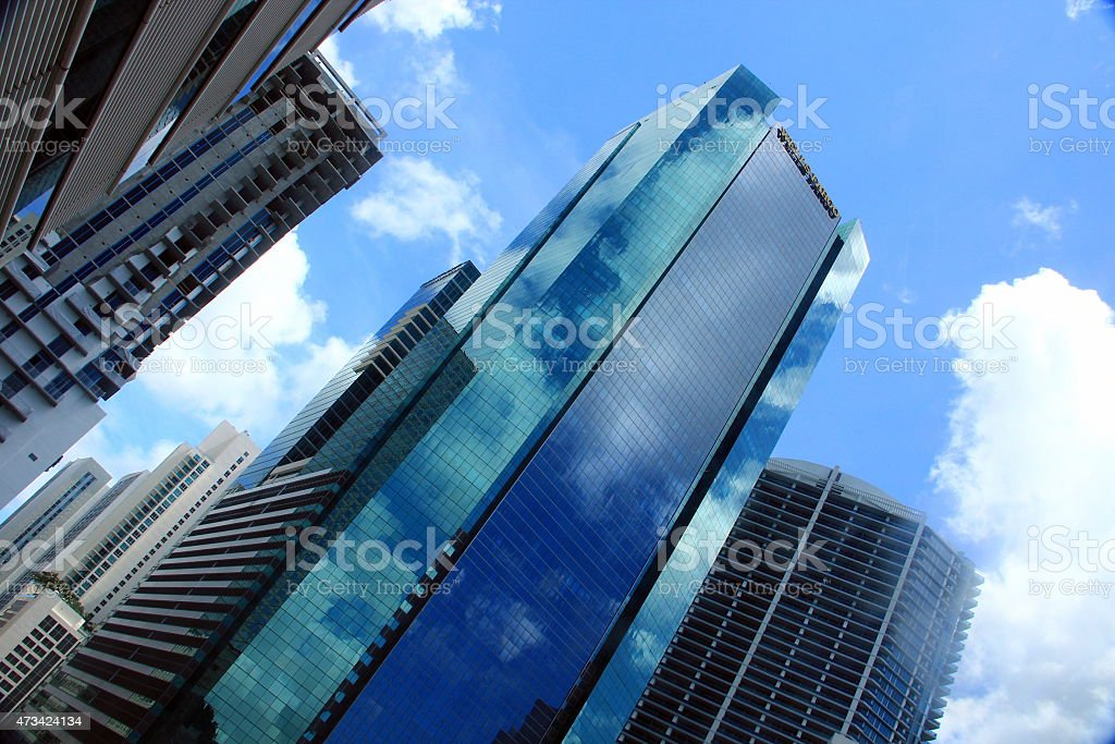 Miami - Skyline from metromover stock photo