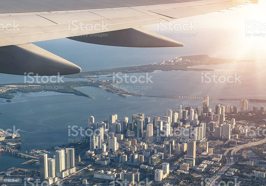 Miami skyline from the airplane stock photo
