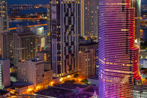 Miami Skyline in Rainbow colors stock photo