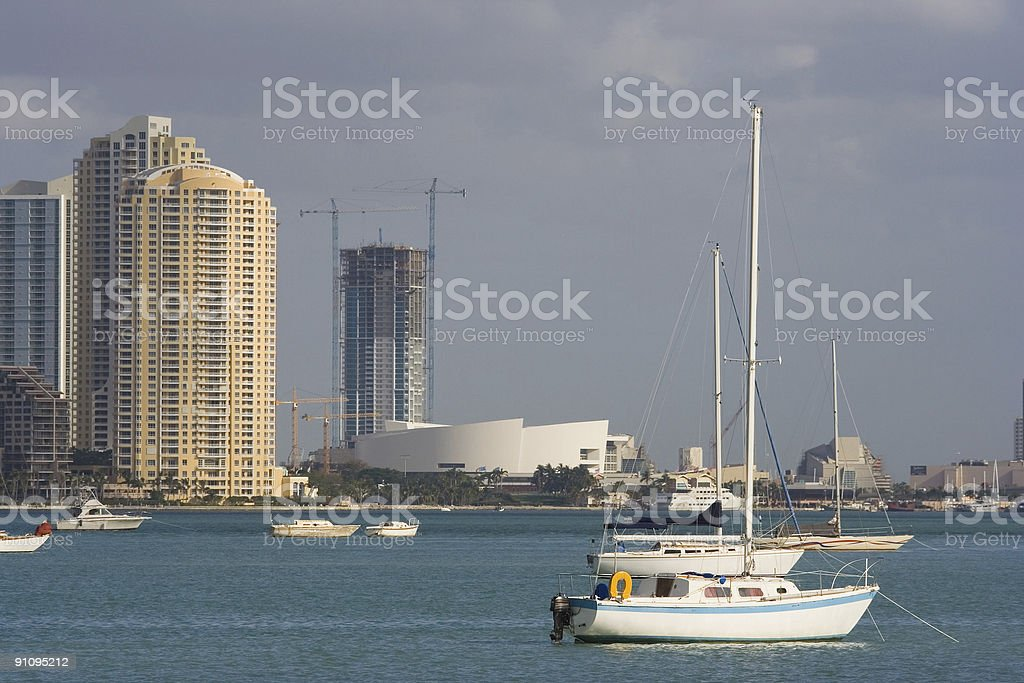 Miami Skyline in the glow of golden morning light royalty-free stock photo