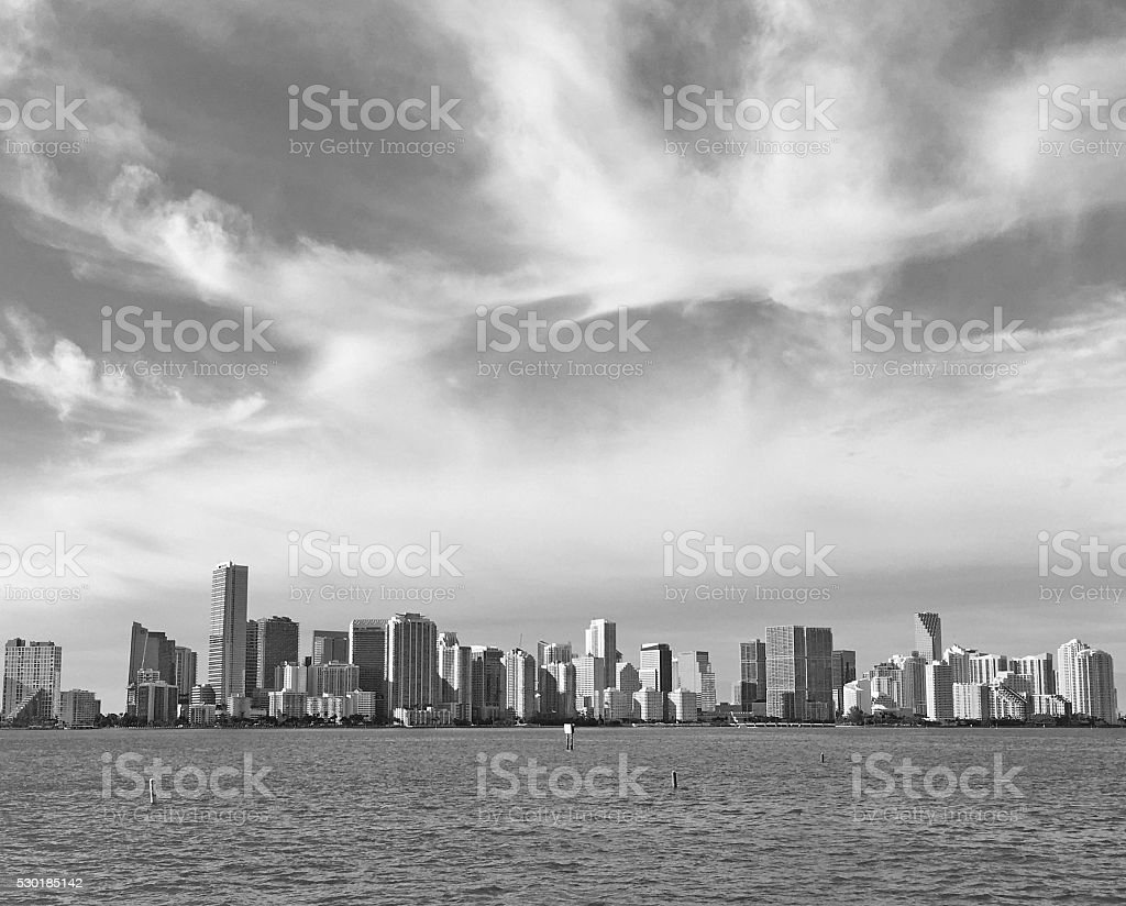 Miami Skyline Miami Skyline with office buildings and dramatic clouds, Miami, Florida, USA. Architecture Stock Photo
