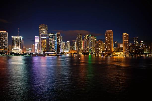 Miami skyline skyscraper at night stock photo