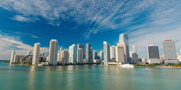 Miami skyline skyscraper stock photo
