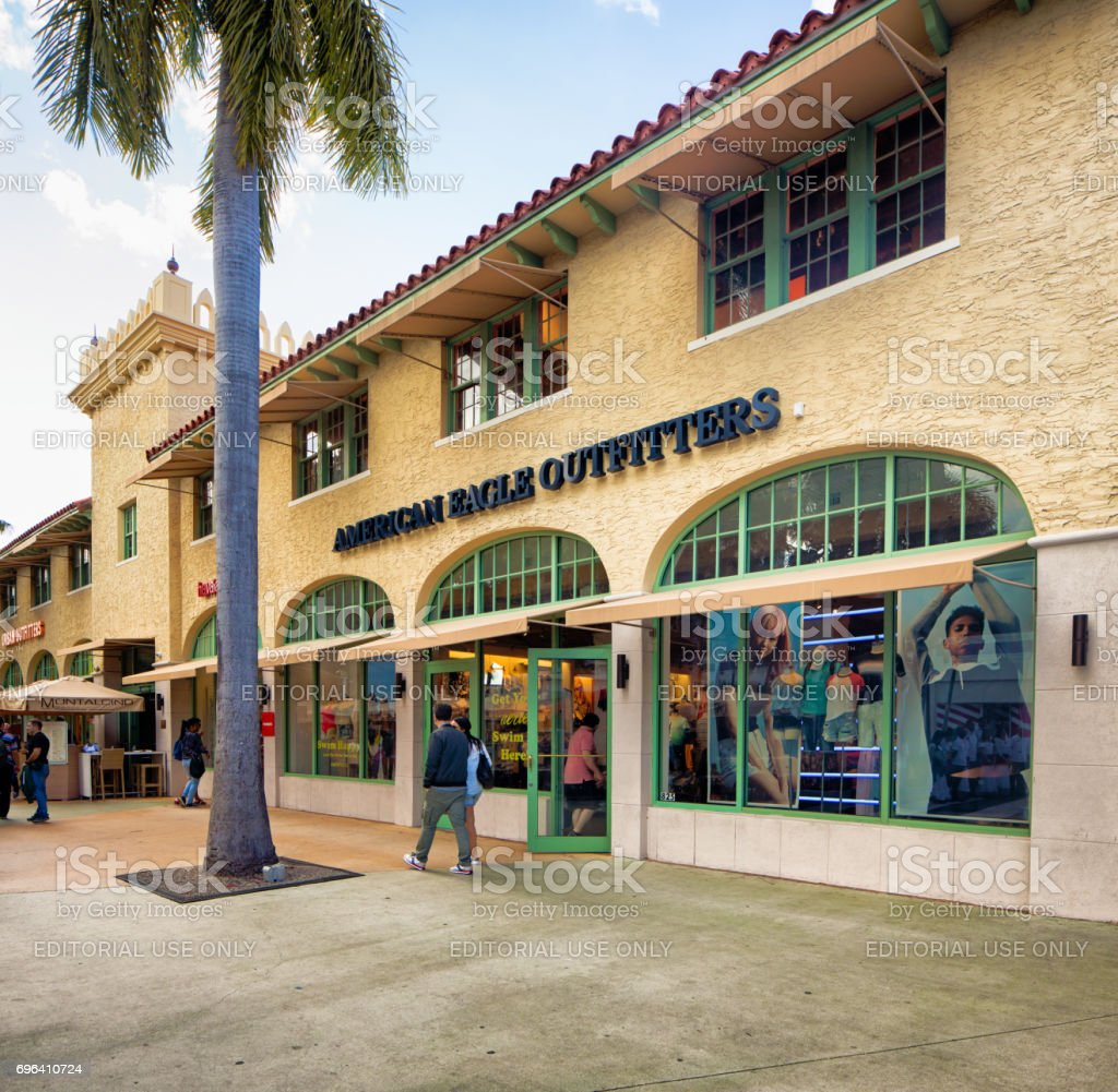 Miami South Beach Lincoln Road American eagle outfitters store facade stock photo