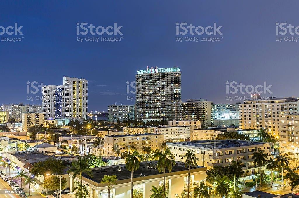 Miami, South Beach night street view royalty-free stock photo
