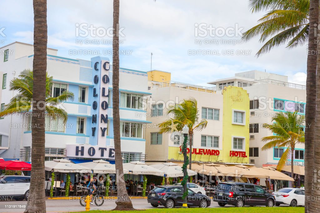 Miami South Beach Ocean Drive With Hotels Restaurants And
